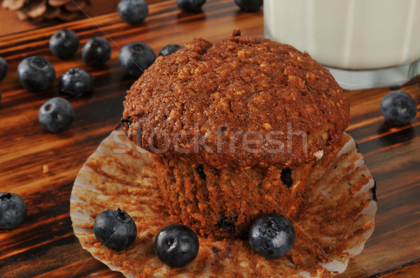 Bran and flax seed muffin with wild blueberries Stock photo © MSPhotographic