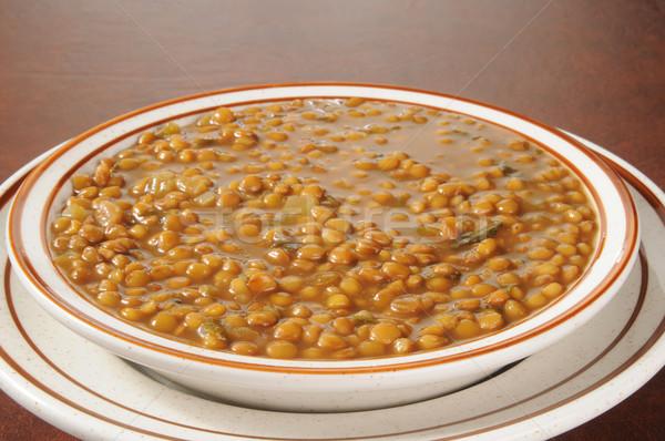 Primer plano tazón lenteja sopa sopa de frijol fondo Foto stock © MSPhotographic