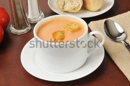 Kubek zupa pomidorowa obiedzie zupa posiłek Zdjęcia stock © MSPhotographic