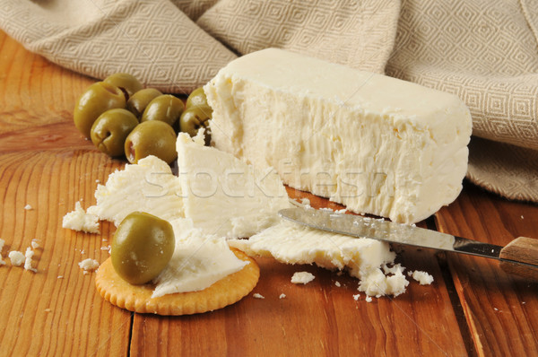 Feta cheese with crackers and olives Stock photo © MSPhotographic