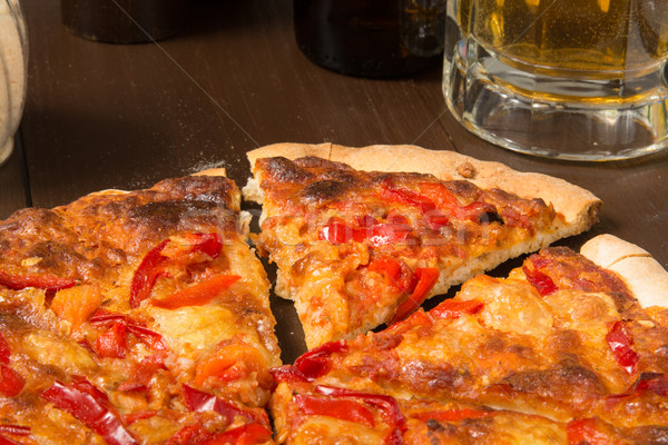 Sicilian style pizza with beer Stock photo © MSPhotographic