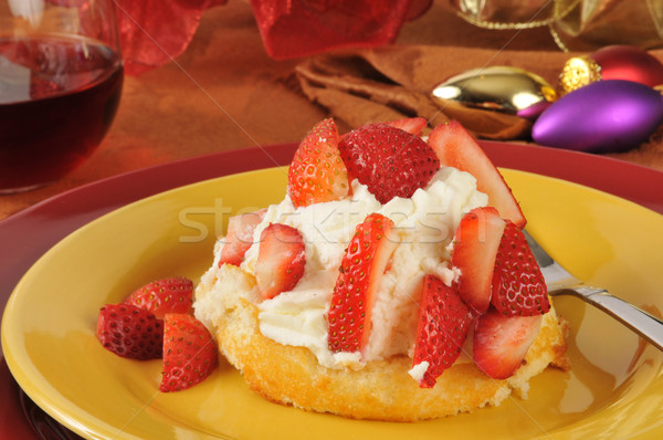 Strawberry shortcake on a holiday table Stock photo © MSPhotographic