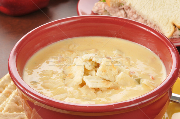 chicken con queso soup with a sandwich Stock photo © MSPhotographic