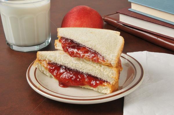 Арахисовое масло желе сэндвич школы книгах яблоко Сток-фото © MSPhotographic