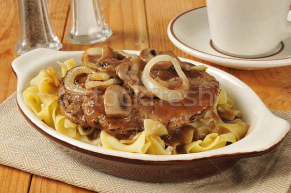 Salisbury steak on noodles Stock photo © MSPhotographic