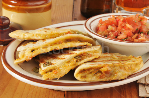Grilled chicken quesadilla Stock photo © MSPhotographic