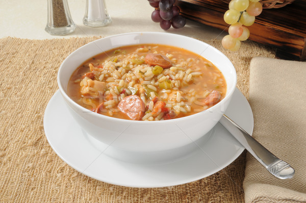 A bowl of sausage and chicken gumbo Stock photo © MSPhotographic