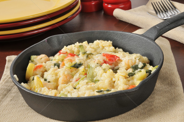 Garlic Shrimp Risotto in a Cast Iron Skillet Stock photo © MSPhotographic