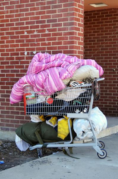 Hajléktalanság bevásárlókocsi hajléktalan személyek szegénység koszos Stock fotó © MSPhotographic