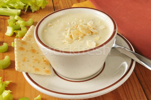 Crème céleri soupe bol alimentaire déjeuner Photo stock © MSPhotographic