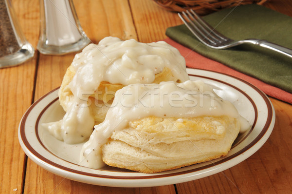 Biscuits with pepper gravy Stock photo © MSPhotographic