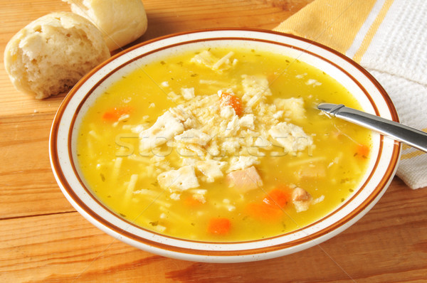 Stok fotoğraf: Tavuk · çorba · çanak · rustik · ahşap · masa