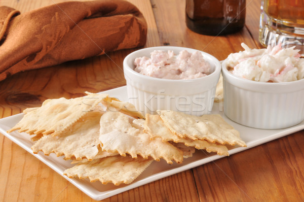 Flatbread crackers with dips and beer Stock photo © MSPhotographic