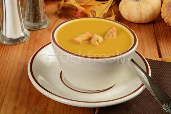 Сток-фото: Кубок · сквош · суп · тыква · продовольствие · белый
