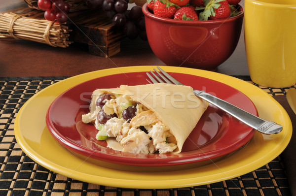 Chicken salad in crepes Stock photo © MSPhotographic