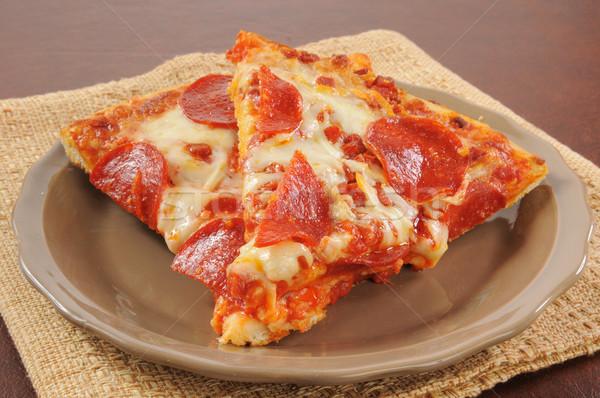 Stockfoto: Peperoni · pizza · plaat · maaltijd · Italiaans