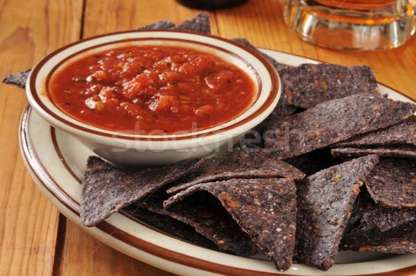 Mavi mısır salsa plaka tortilla cips Stok fotoğraf © MSPhotographic
