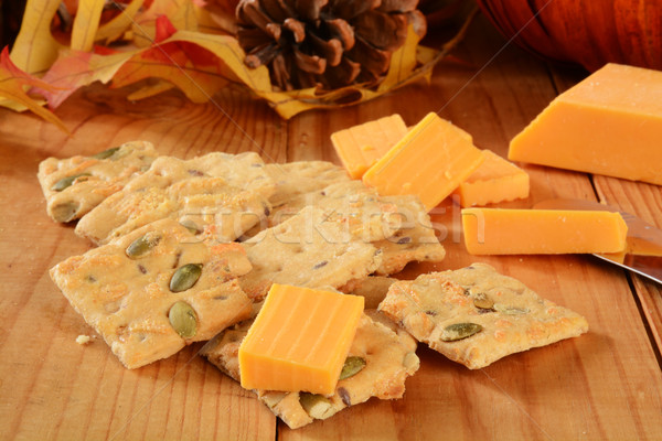 Pumpkin seed and cheese crackers Stock photo © MSPhotographic