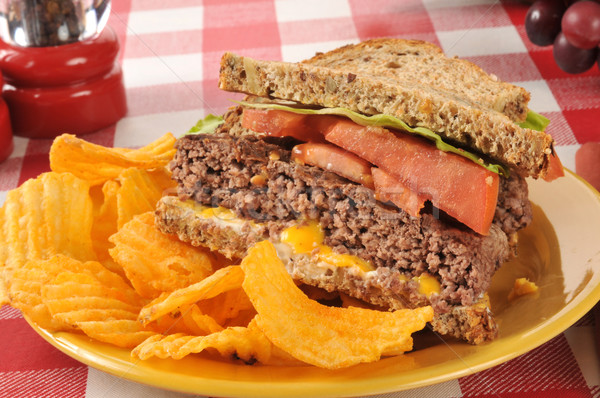Hamburger sandwich and chips Stock photo © MSPhotographic
