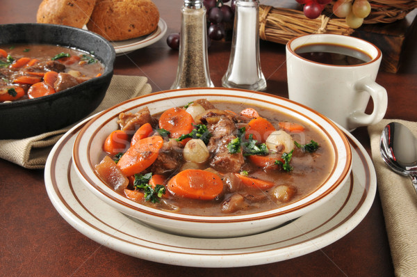 Hearty beef stew bourguignon Stock photo © MSPhotographic