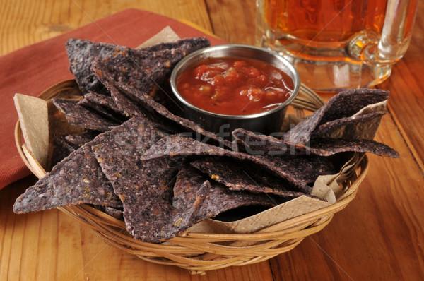 Tortilla cips salsa bira sepet mavi Stok fotoğraf © MSPhotographic