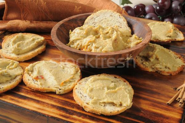 ıspanak tost mini simit dilimleri sarımsak Stok fotoğraf © MSPhotographic