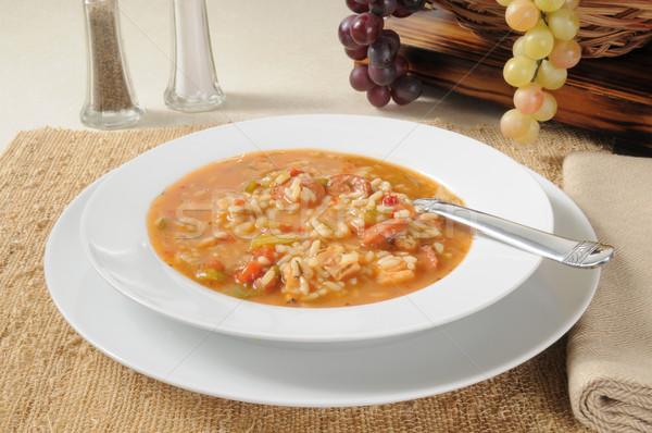 Chicken sausage gumbo soup Stock photo © MSPhotographic