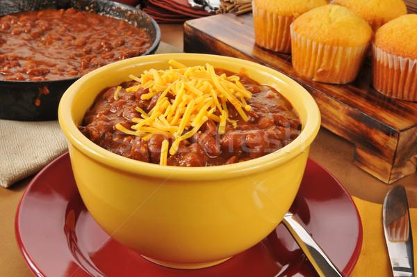 Chili con carne with cornbread muffins Stock photo © MSPhotographic