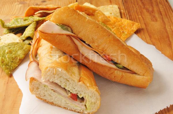 Turquia sanduíche tortilla batatas fritas prato carne Foto stock © MSPhotographic