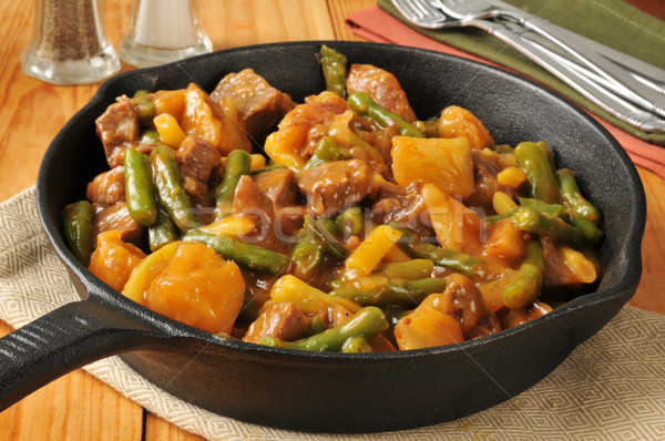 Beef, bean and potato skillet dinner Stock photo © MSPhotographic
