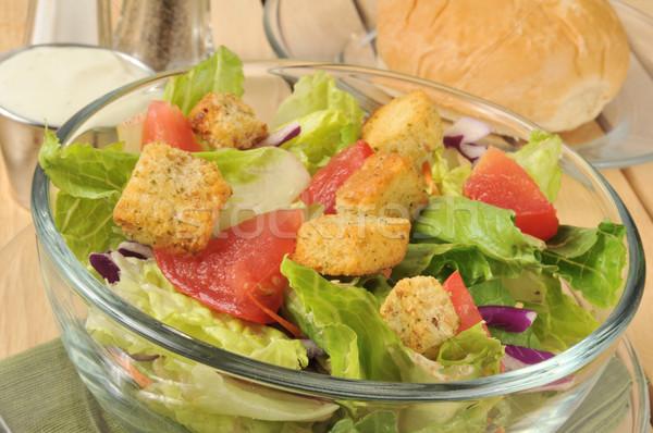 Friss kert saláta zöld vacsora zsemle Stock fotó © MSPhotographic