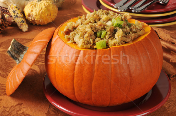 Turkey and celery stuffing in a pumpkin Stock photo © MSPhotographic