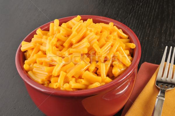 Kom macaroni kaas eenvoudige diner Stockfoto © MSPhotographic