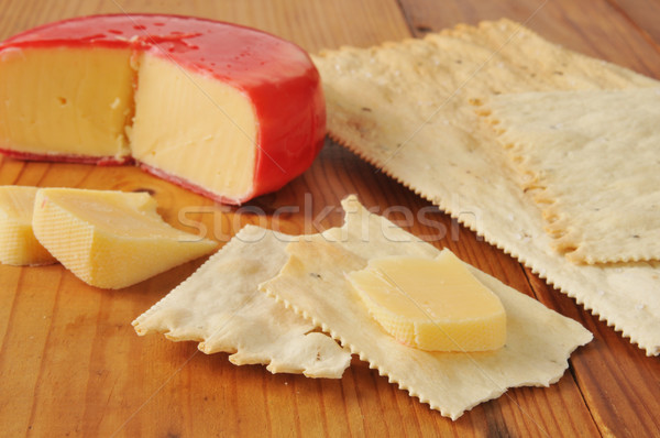 Gouda cheese on flatbread crackers Stock photo © MSPhotographic