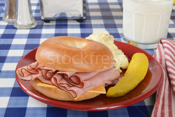 Ham and cheese sandwich on a bagel Stock photo © MSPhotographic