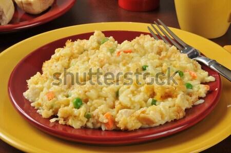 Roereieren ham kaas koekenpan voedsel Stockfoto © MSPhotographic