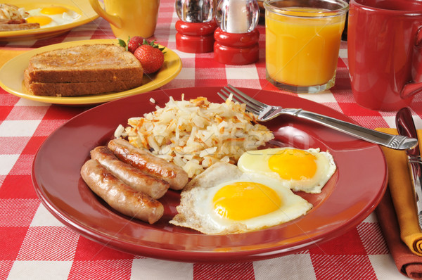 Stock photo: Sausage, eggs and hash browns