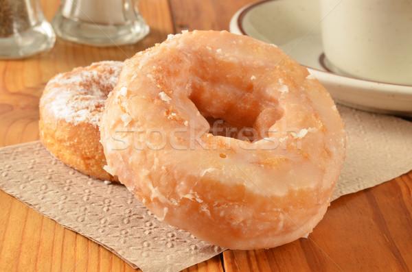 Donuts koffie poedersuiker beker papier suiker Stockfoto © MSPhotographic