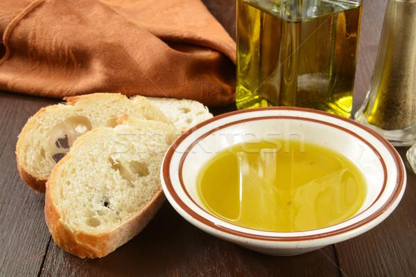 Francia kenyér olívaolaj szeletel francia kenyér tál kenyér Stock fotó © MSPhotographic