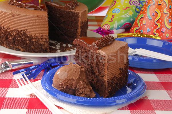 Chocolate birthday cake Stock photo © MSPhotographic