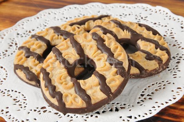 Fudge striped shortbread cookies Stock photo © MSPhotographic