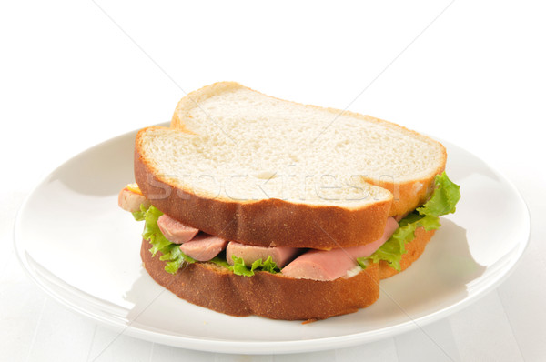 Vienna sausage sandwich on white Stock photo © MSPhotographic