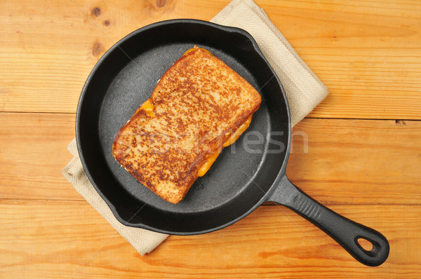 Grilled cheese sandwich in cast iron skillet Stock photo © MSPhotographic