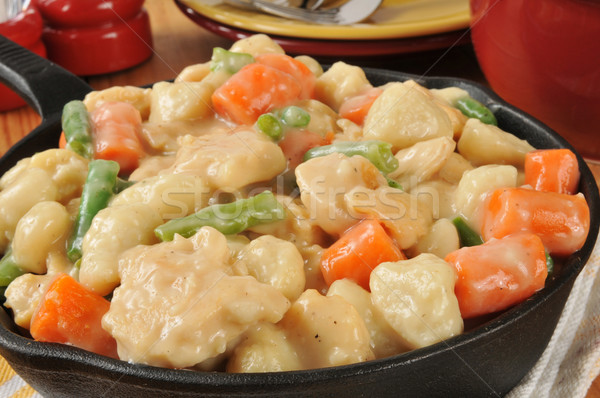 Cast Iron Skillet of Chicken and Dumplings Stock photo © MSPhotographic