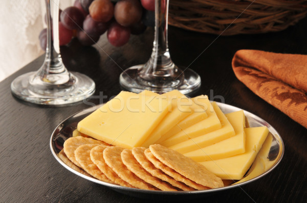 Rice crackers with smoked gouda cheese Stock photo © MSPhotographic