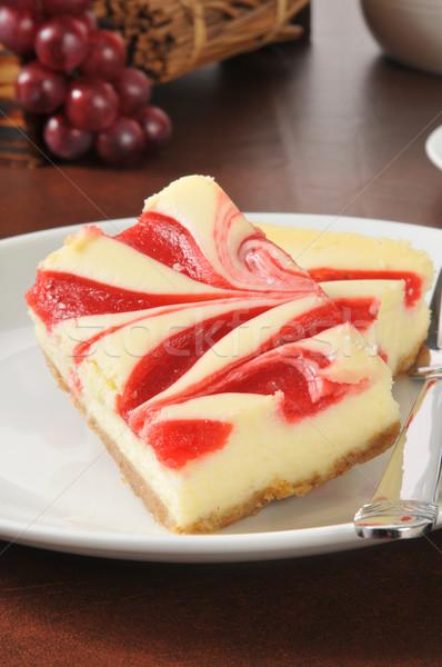 Cheesecake with raspberry swirls Stock photo © MSPhotographic