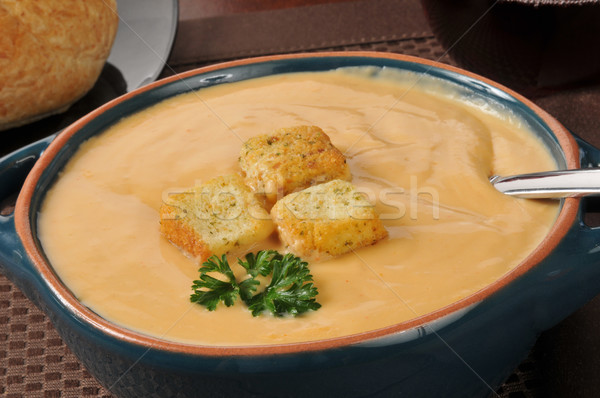 Creamy lobster bisque soup Stock photo © MSPhotographic