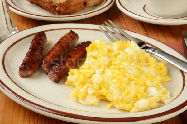 Kolbász tojások reggeli láncszem rántotta étel Stock fotó © MSPhotographic
