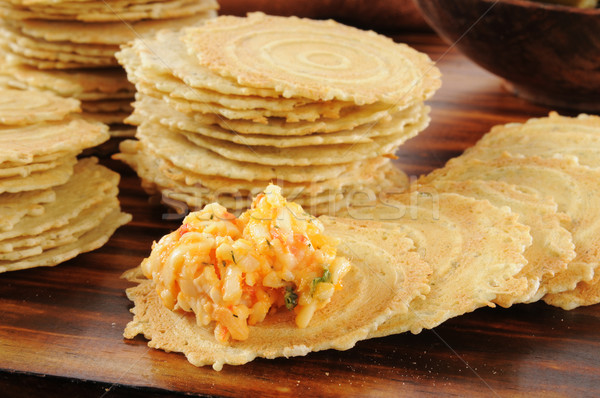 Gouda and Pimento Cheese Spread on Crackers Stock photo © MSPhotographic