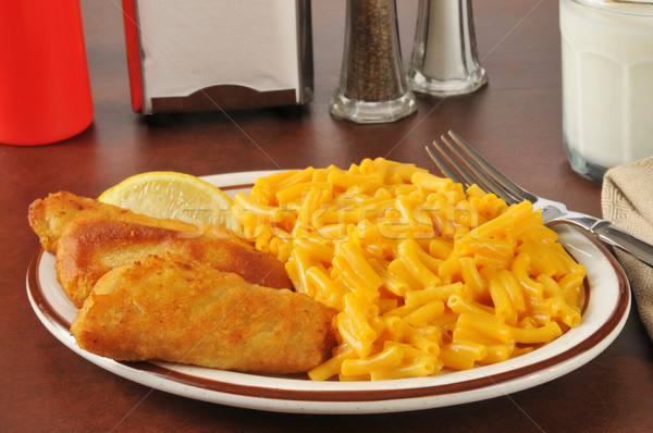 Fish sticks with macaroni and cheese Stock photo © MSPhotographic